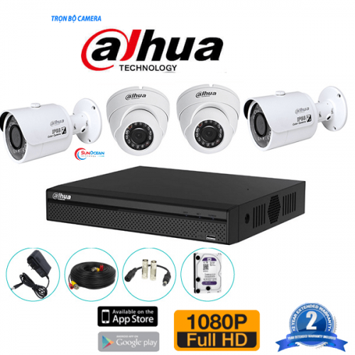 Bộ 4 camera Dahua 1MP HAC-HDW1000MP-S3
