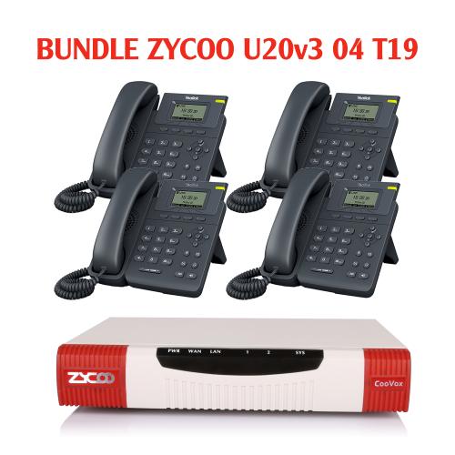 Trọn bộ tổng đài Bundle Zycoo và 04 điện thoại IP Yealink T19-E2